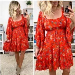 SALE💥 EASEL Rosabel lace up floral boho dress